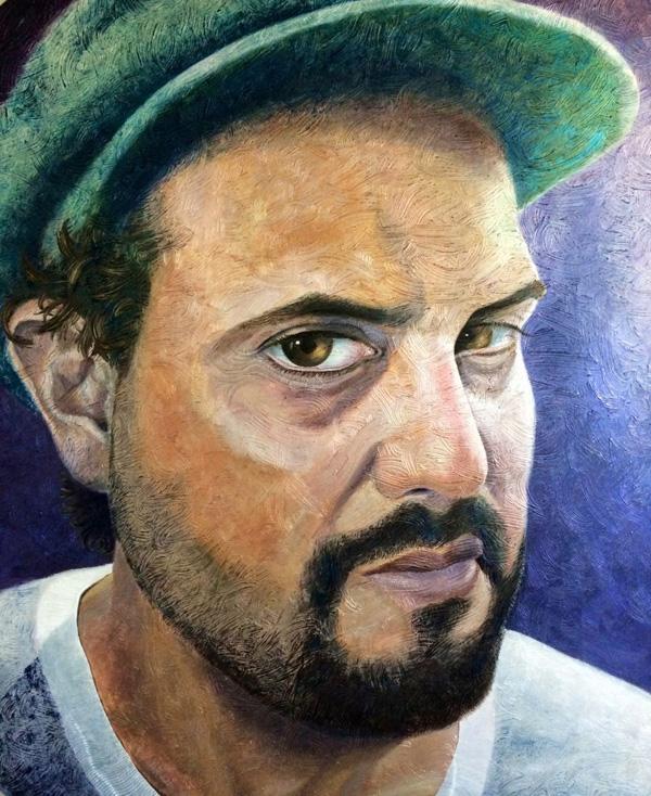"Portrait of Avraham"" by Miguel Rodez mix medium on canvas, 6.5' round"