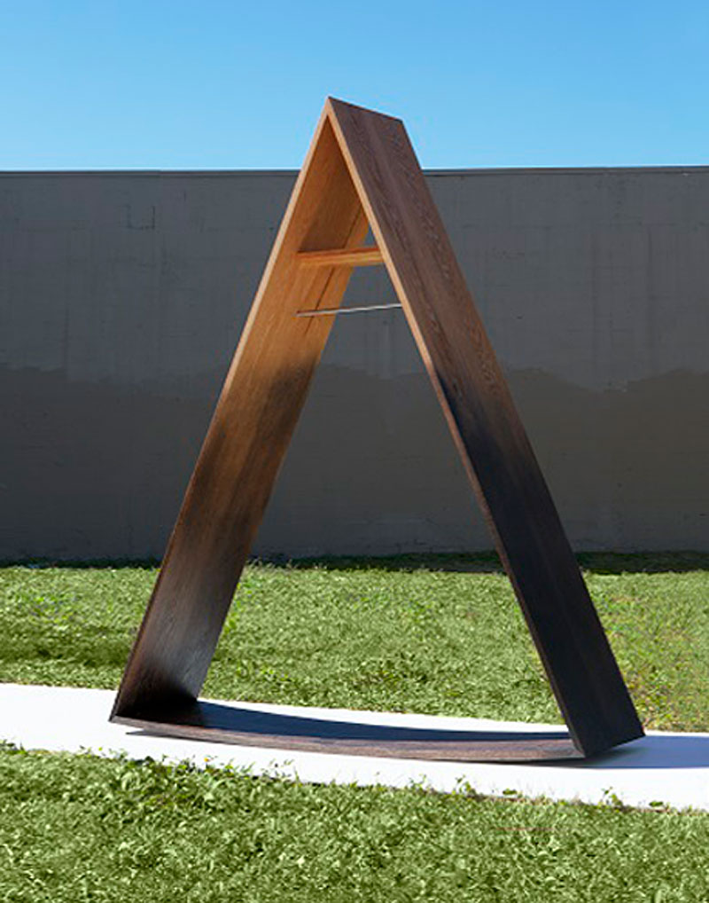 """La Pieta by Bradley L. Bowers, H: 72.5"""" x W: 61"""" x D: 16.5"""" Material: Oxidized Red Oak, Red Oak, Hardened Steel."""